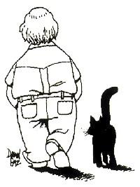 Caricatura de Osvaldo Soriano y su gato hecha por el dibujante Paz.